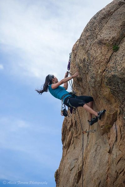 Rock Climbing Photo: Lena clips the anchors from the LOW hold... just o...