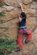 Rock Climbing Photo: Tiff, through the opening crux... after clipping t...