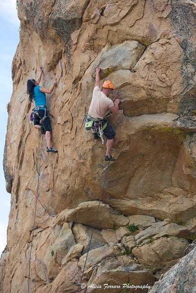 Rock Climbing Photo: Glenn on Long Arm of the Law... with Lena on his l...