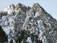 Rock Climbing Photo: Olympus from the east - Feb 2013.  Kamps Ridge on ...