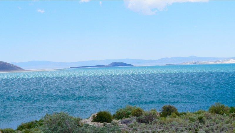 Whitecaps on Mono Lake on a very windy day.