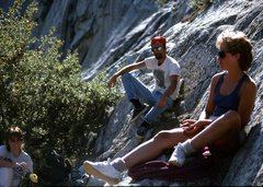 Rock Climbing Photo: Chernobyl Wall, Kings Canyon. Chris, Gary and Laur...