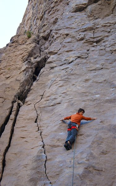 Rock Climbing Photo: Traversing out of the crack onto the face