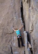 Rock Climbing Photo: Hjordis starts up the initial crack