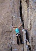 Rock Climbing Photo: Hjordis starts up the initial crack