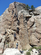 Rock Climbing Photo: Bye Crackie sequence shot.  My buddy Kyle leading.