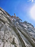 Rock Climbing Photo: Starting crux (10c/d) of the first pitch of the Up...