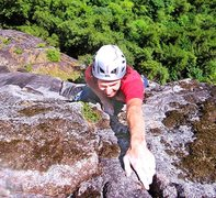 Rock Climbing Photo: Last move on P2 of Up'er Zipper (11b).