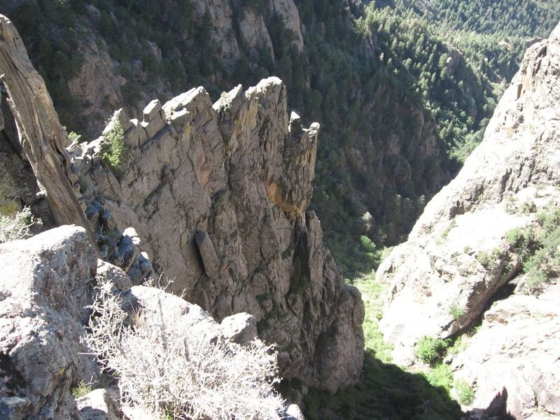 Last Goodbye (5.8), Block Ridge/Trundle Wall, Sandia Mountains, NM.  Looking down Block Ridge from the NW side.