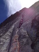 Rock Climbing Photo: Offwidthy goodness :) Half way up I was able to ja...