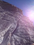 Rock Climbing Photo: Top of offwidth. You can stem the two cracks as so...