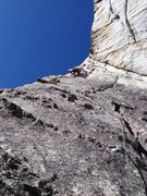 Rock Climbing Photo: The arete. There is a fixed pin just up and right,...