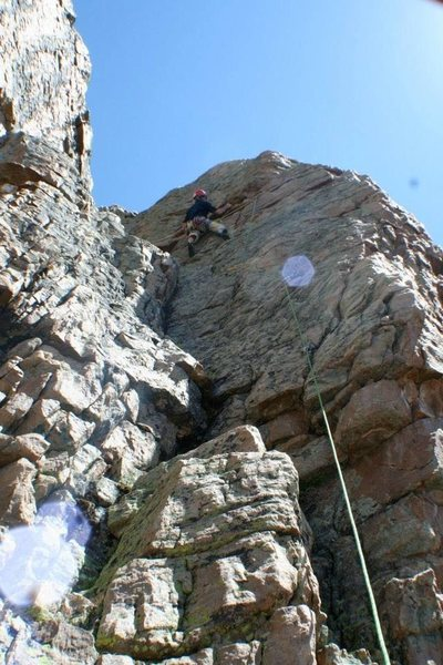 Rock Climbing Photo: Das craigers cruisin the upper section on green eg...