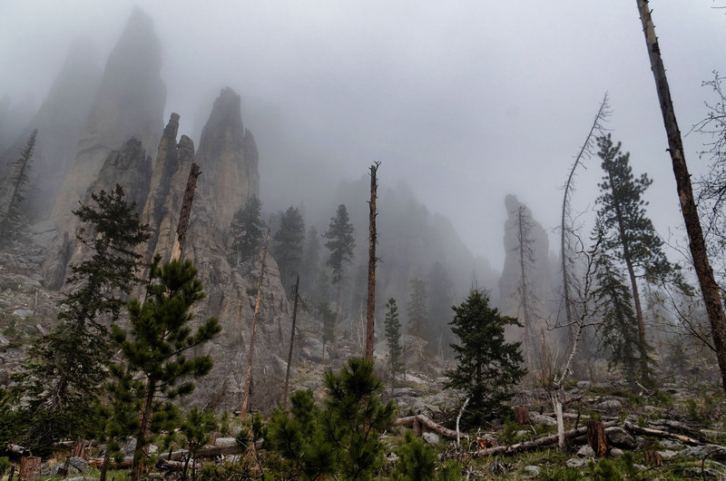 Rock Climbing Photo: Spires in the rain.