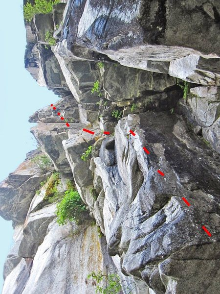 Rock Climbing Photo: View up of Between the Cheeks from the Beach, just...