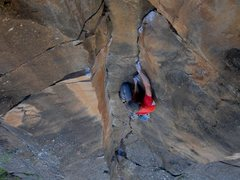 Rock Climbing Photo: FA of Rapture. Beautiful twin crack section before...