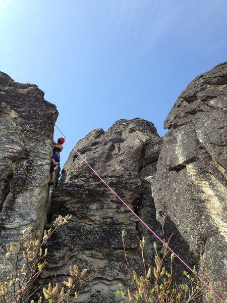 Adrienne Kentner climbing Green Wall 5.9+