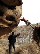 Rock Climbing Photo: This is the first move of Nepotism 5.12. My first ...