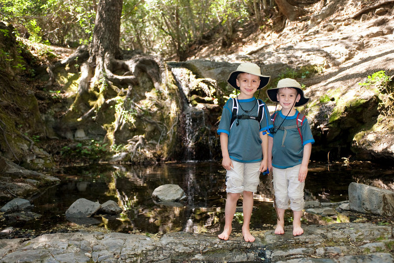 Bryson & Wesley below Rose Falls, Los Padres National Forest. (Spring 2013)