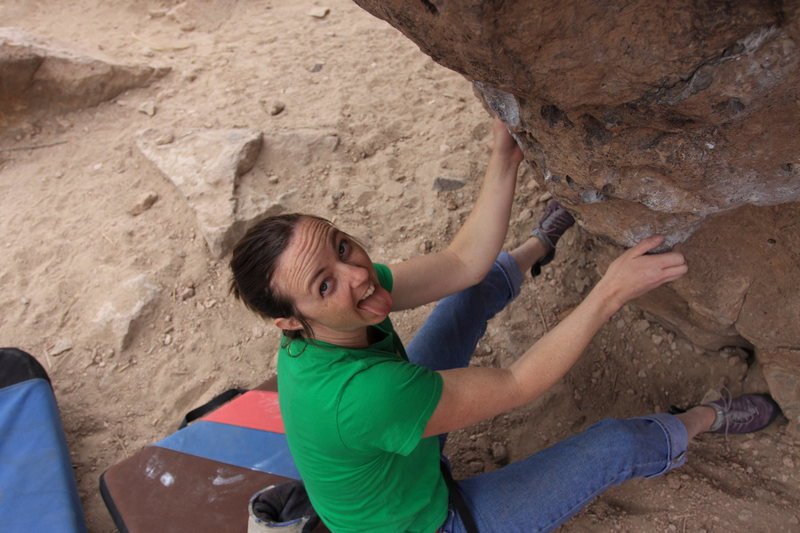 Me at the start of the most heinous V2 in Bishop...or at least the one I can't do, Comfort of Home.
