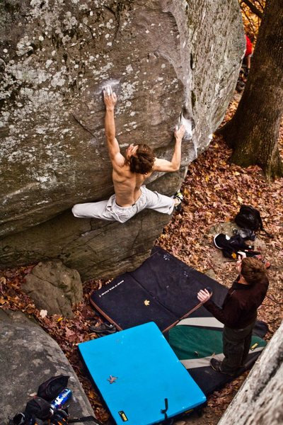 Pete Temmens on Shadow of a Man, proving yoga to indeed be an effective supplement to bouldering.  Photo by Thomas Diehl.