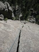 Rock Climbing Photo: Looking down from the top of the first 60 meters, ...