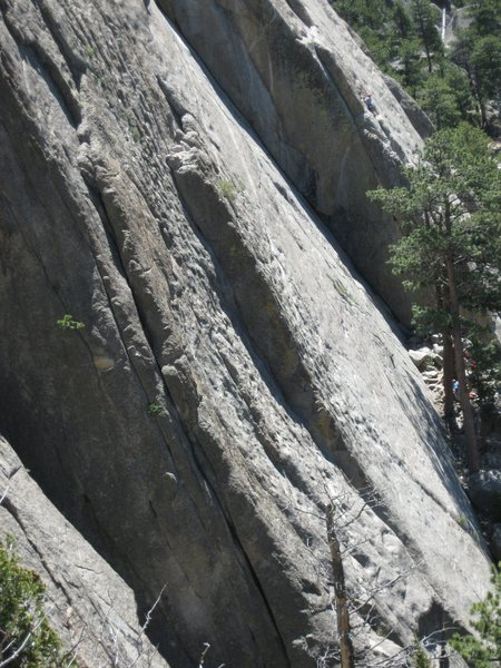 The bottom of the Isis Buttress.  Sport Pages is the prominent OW crack visible in the center bottom of the photo.  As viewed from the top of Backflip.