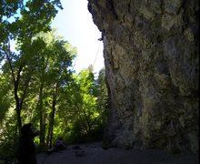 Rock Climbing Photo: Side Photo of route.  Good shot of the belay area ...