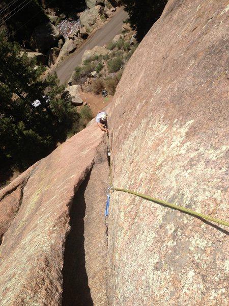 Matt's first trad crack climb.