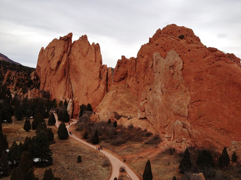 Looking at South and North Gateway Rocks from the top of Montezuma's Tower, 2012.