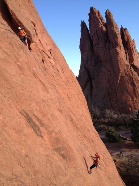 Rock Climbing Photo: Charlotte gets lowered off, while Nick stands in t...