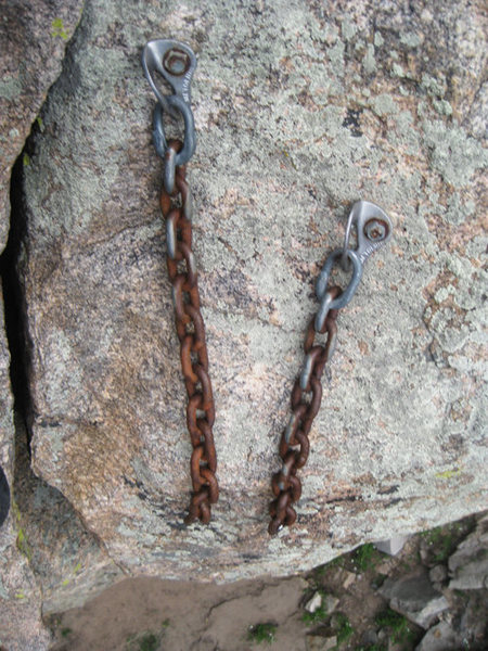 Old chain and old bolt locations.