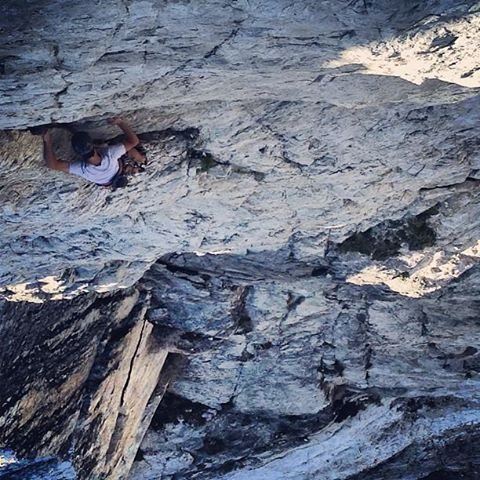Rock Climbing Photo: The lower sections of the 3rd pitch... great expos...