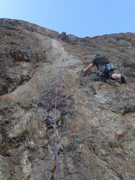 Paul Risse leading Dino's Stubble Trouble 5.10c/d
