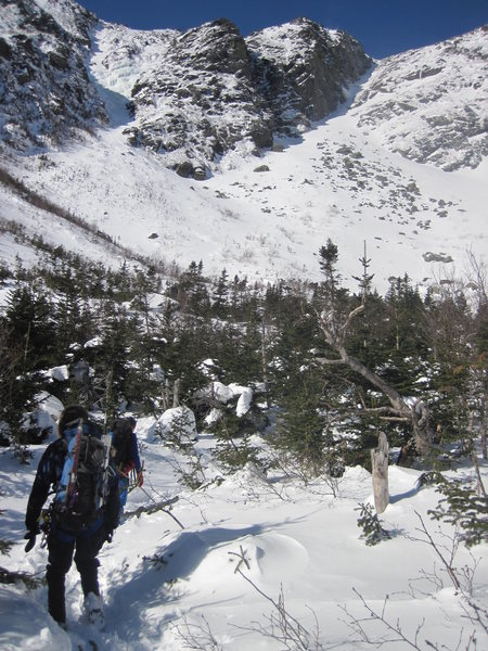 At the base of Huntington's Ravine looking up at Pinnacle, Central Gully et al. 2011
