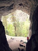 Rock Climbing Photo: Clark, transitioning to the center of the cave. (N...