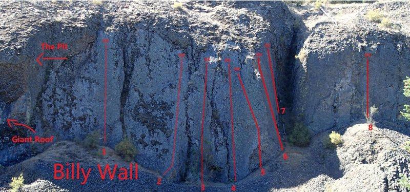 1. Unknown 5.7        2. Invictus 5.4      3. Mr. Twister 5.7       4. The Bull 5.9         5. Unknown  5.10a   4. Pre-climb Grumper 5.9        7. Unknown     5.9       8. Unknown 5.6<br>