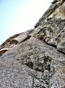 Rock Climbing Photo: Jake  getting into the cruxy moves at the second b...