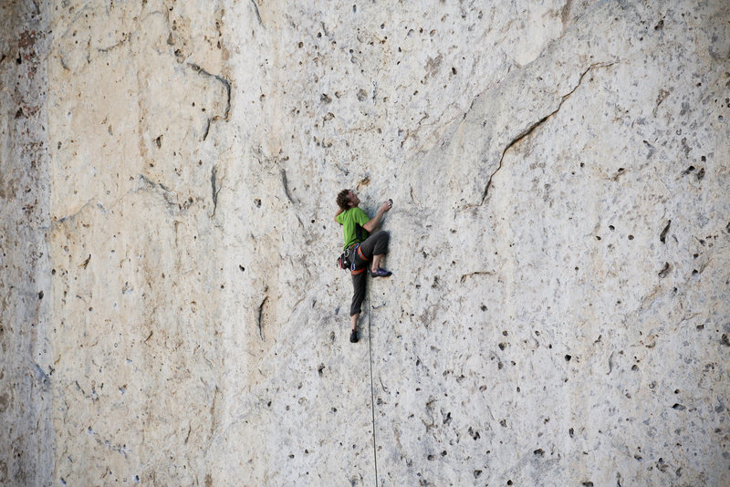 Ben on the classic Martini (5.12a) at the Fins, Idaho