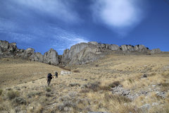 Rock Climbing Photo: Approach from the Lower Parking. Yellow Cake is th...