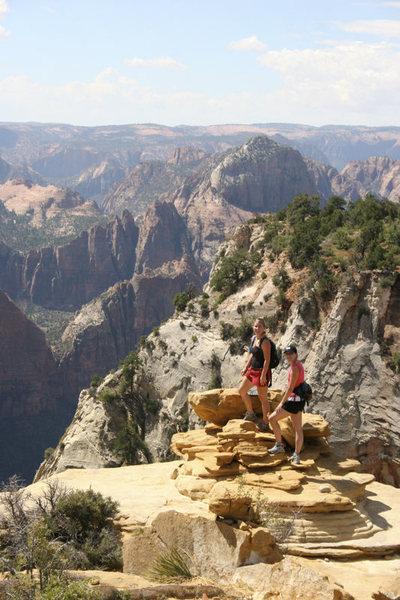 Holly Hamilton & Jolae Koehler on the summit block (Nick Wilkes photo)