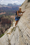 Rock Climbing Photo: Kim on the 4th/easy 5th class white sandstone slab...
