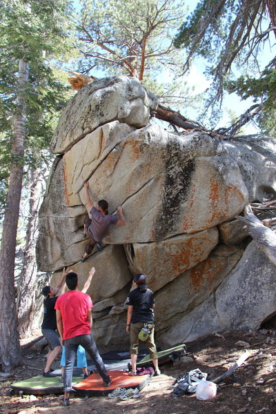 Rock Climbing Photo: Setting up for a knee-bar, just before the crux mo...