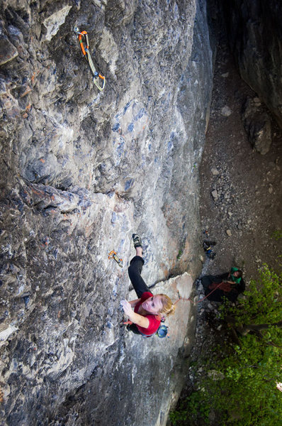 Melissa on the first ascent of her new mega classic route.