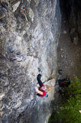 Rock Climbing Photo: Melissa on the first ascent of her new mega classi...