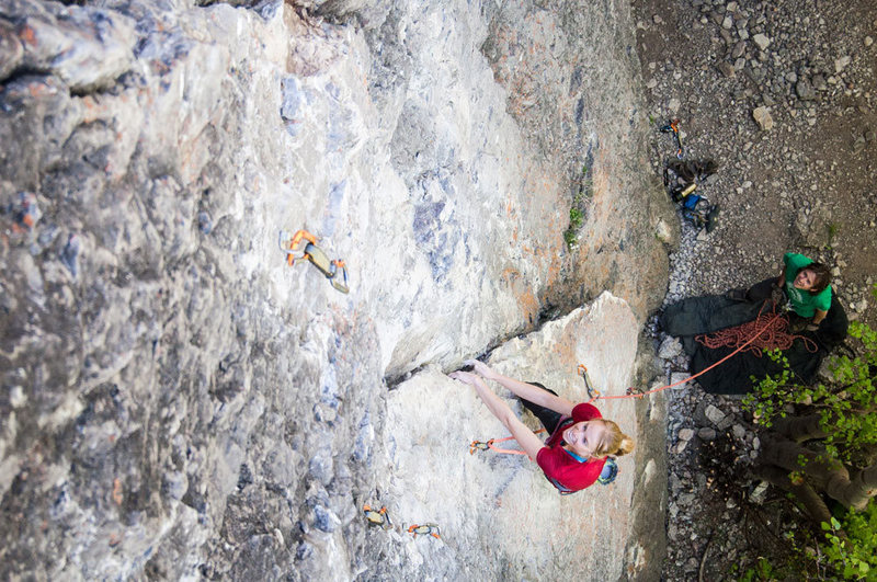 Rock Climbing Photo: Melissa on the joyful layback section of her new r...
