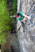 Rock Climbing Photo: Pawel goofing around for the camera on the last ha...
