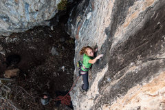 Rock Climbing Photo: Melissa sneaking through the low section of two fa...