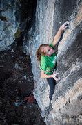 Rock Climbing Photo: Melissa entering the first crux.