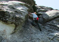 Rock Climbing Photo: Ralph, leading the first pitch.